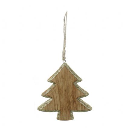 Wooden with Gold Glitter Trim Hanging Christmas Tree Decoration